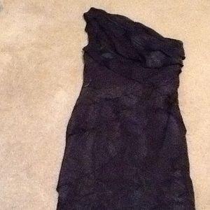 London Times Black one shoulder dress size 12